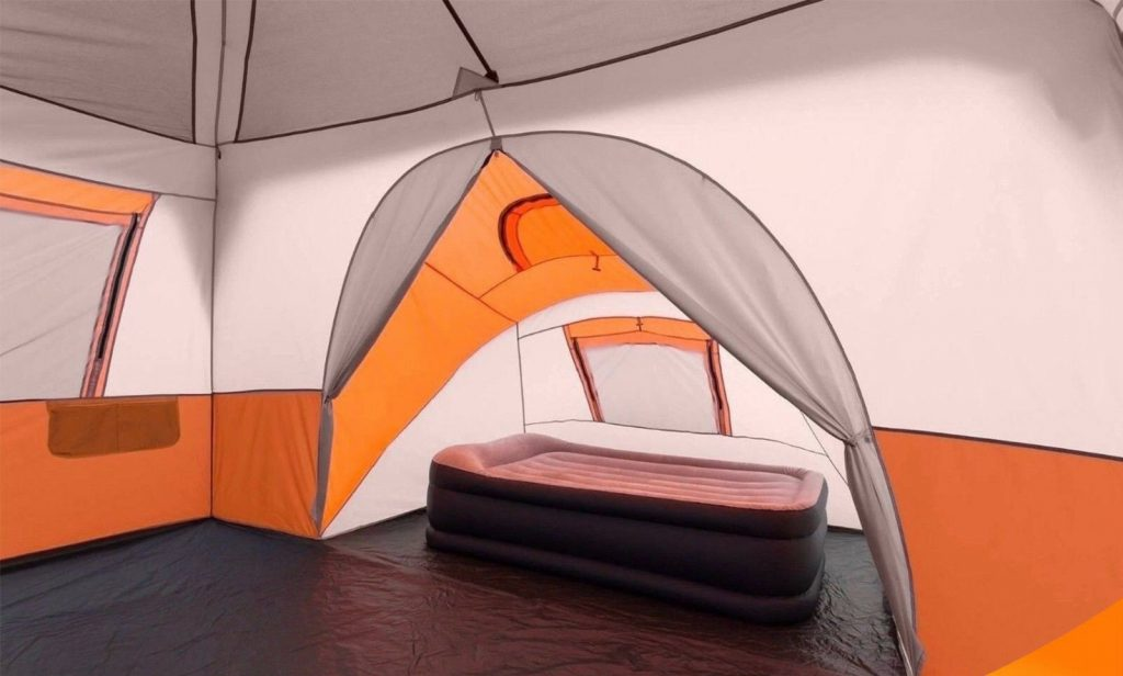 Ozark trail 11-person 3-room instant cabin tent interior