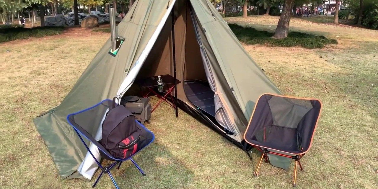 Pomoly HEX hot tent with stove jack